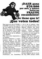 ¡Daer gana $70.000 por mes, y quiere hacer un Fraude escandaloso! ¡Se tiene que ir! ¡Que votentodos!